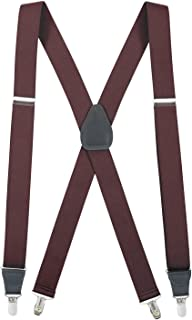 Hold'Em Suspender for Men Made in USA X-Back Genuine Leather Crosspatch Clip