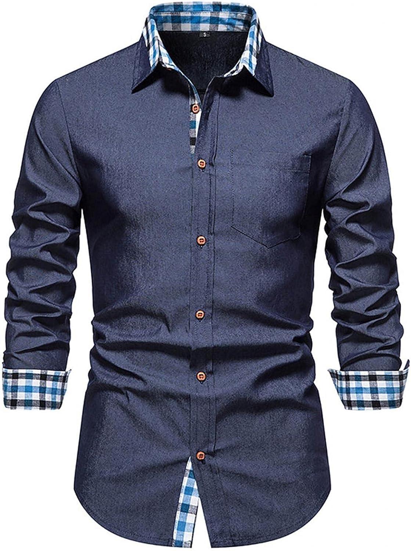 FUNEY Men's Fashion Long Sleeve Plaid Button Down Shirts Inner Contrast Casual Formal Classic Collar Slim Fit Dress Shirt