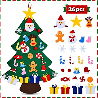 Felt Christmas Tree for Kids - 3.3 FT 3D DIY 26pcs Detachable Ornaments,  Xmas Decorations Wall Hanging Gifts for Kids& Christmas Decorations