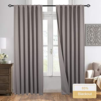 "Gray Blackout Window Curtain Panel Pairs 84"" for Bed Room Darkening and Thermal Insulation Soft Silky Window Treatment Drapes Rod Pocket with Backtabs, 2 Tie Backs (2 Pk, 52x84 Inch, Grey)"