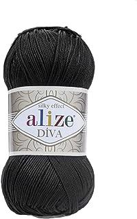 Hand Knitting Yarn 100% Microfiber Acrylic Yarn Alize Diva Silk Effect Thread Crochet Art Lace Craft Lot of 4 skeins 400gr 1532yds Color 60 Black