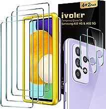 ivoler Pack de 4, Verre Trempé Compatible avec Samsung Galaxy A52 5G et 4G, avec Kit Installation Offert, Film de Protection d'écran - Anti Rayures - sans Bulles - Ultra Résistant Dureté 9H Glass