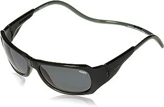 CliC Unisex-Adult Monarch Black Monarch Black Polarized Rectangular Sunglasses, Black, 62.6 mm