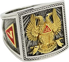 UNIQABLE Scottish Rite 32 Degree Wings Up Masonic Knights Templar Silver 18k Gold Plated Freemasonry Signet Ring KTR023