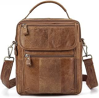 Men's Accessories Vintage Crazy Horse Leather Briefcase Shoulder Satchel Shoulder Handbag for Phone Tablet Power Bank Outdoor Recreation (Color : Yellow)