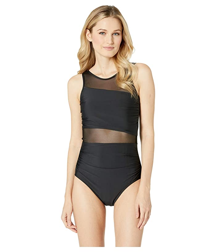 Athena Samba Solids High Neck One-Piece with Mesh Inserts (Black) Women