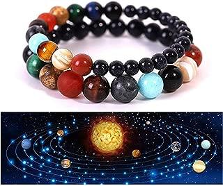 2 Pcs Adjustable Galaxy Solar System Bracelet for Women Lava Rock Stone Essential Oil Diffuser Bracelet Set for Men