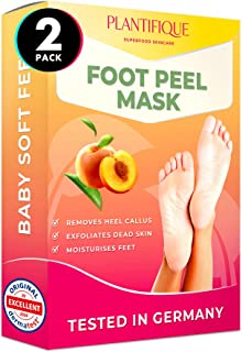 DERMATOLOGICALLY CERTIFIED EXFOLIATING Foot Peel Mask for Baby Soft Feet by Plantifique- 10X MORE EFFECTIVE for Calluses, ...