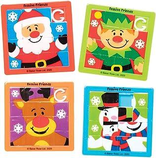 Baker Ross AX455 Amigos Festivos Mini Juegos De Rompecabezas Deslizantes - Paquete De 8, Juguetes Novedosos Para Niños, Fi...