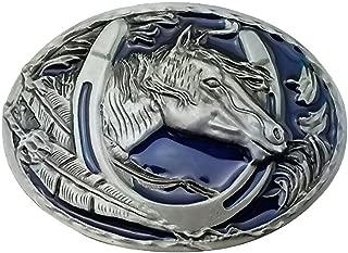 HOMYL Engraved Animal Equestrian Horseshoe Horse Head Oval Cowboy Belt Buckle