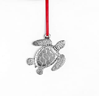 USA Handcrafted Sea Turtle Holiday Christmas Ornament Keepsake Pewter