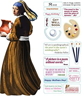Johannes Vermeer Girl with Pearl Earring Quotable Notable - Die Cut Silhouette Greeting Card and Sticker Sheet
