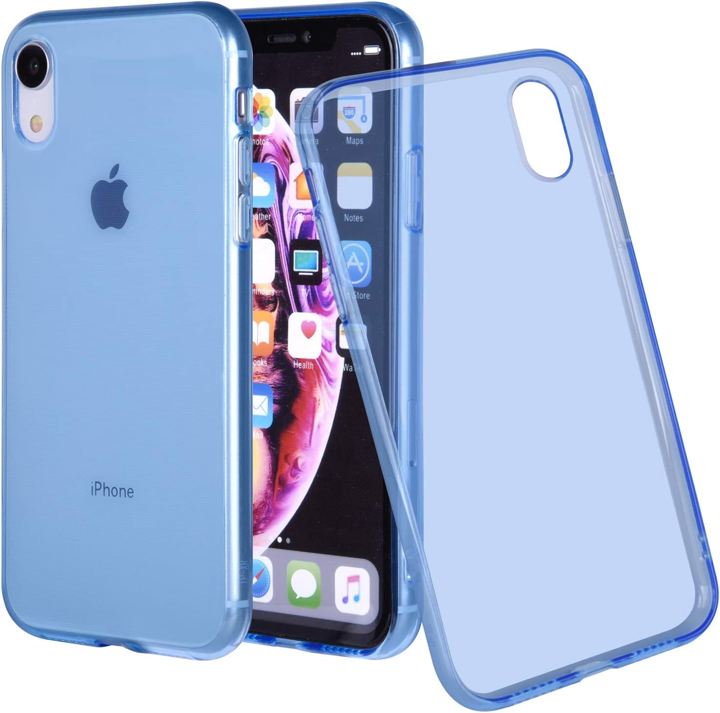 Wisdompro iPhone XR Case, Bundle of 5 Pack Extra Thin Slim Jelly Soft TPU Gel Protective Case Cover for Apple iPhone XR (Blue, Aqua Blue, Hot Pink, Yellow, Red)- Transparent Color