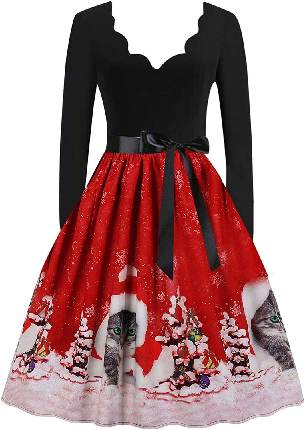 Tigivemen Christmas Dress for Women Toddler Girls, Xmas Tree Printed Dress A-line Vintage Cocktail Holiday Party Dress
