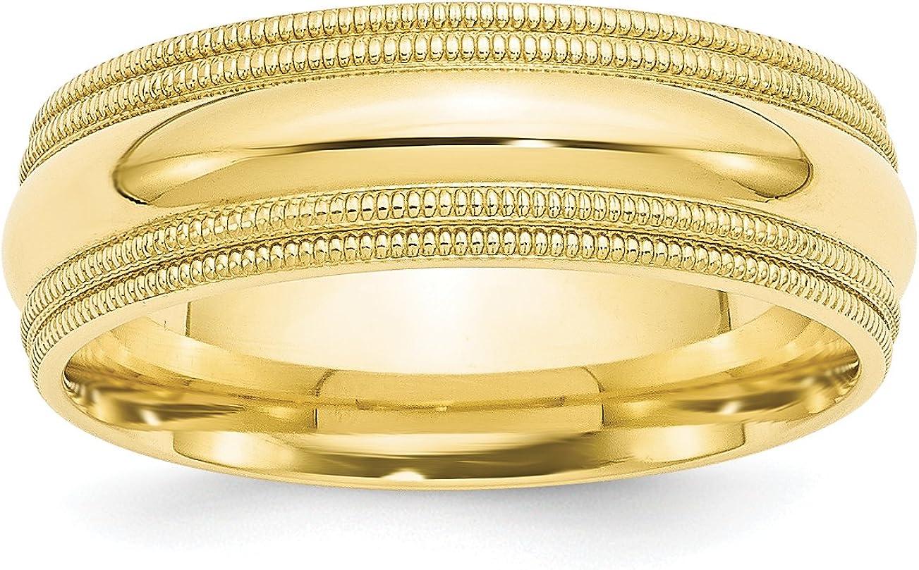 Solid 10k Yellow Gold 7 mm Discount is also underway Ranking TOP4 Wedding Comfort Fit B Milgrain Double