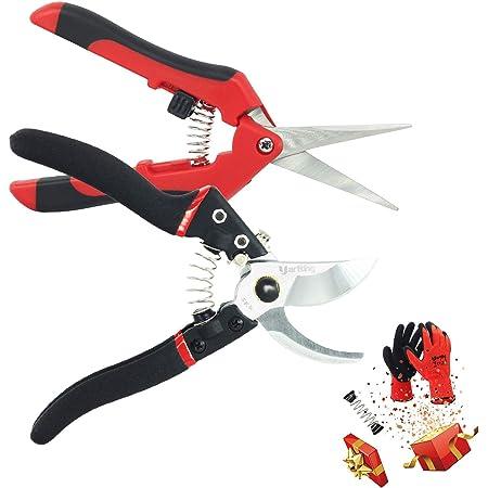 Including Garden Scissors,Gardening Glove,Garden Clippers,Sharp Pruning Shears,Yartting SK5 Blades Garden Shears,3-Pack Pruner Set Black