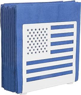 MyGift White Metal American Flag Cut-out Design Tabletop Paper Napkin Holder, Freestanding Tissue Dispenser