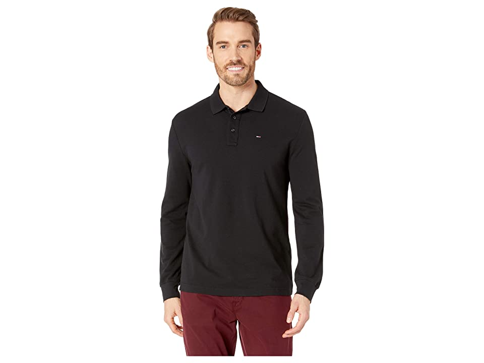 Tommy Jeans Essential Long Sleeve Polo (Tommy Black) Men
