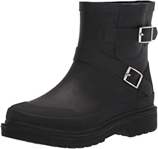 Chooka Women's Waterproof Moto Mid Boot Rain, Black, 6