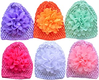 Baby Crochet Hats Chiffon Flower Infant Knitted Cap Newborn Hospital Hat Soft Nursery Hat Picture Accessories 0-12M