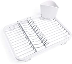 Umbra Sinkin Drying Rack – Dish Drainer Caddy with Removable Cutlery Holder Fits in Sink or on Counter top, Medium, White/Nickel Kitchen