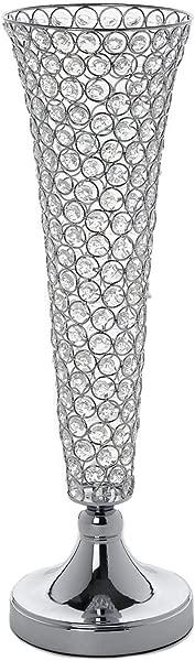 Efavormart Set Of 2 Tall Silver Beaded Crystals Trumpet Floral Vase Wedding Centerpiece 23 Tall