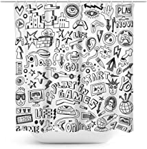Coxila Video Games Shower Curtain Boys Funny Graffiti Monitor Device Gadget Teen 90's 60 x 72 Inch Polyester Fabric Waterp...