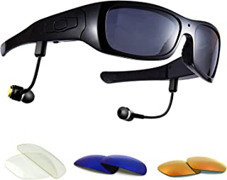 Forestfish Video-Glasses with Headset 16GB HD 1080P Video Recorder Camera Glasses for iOS Android Smartphone Polarized Sunglasses, Black+3 Color Lenses