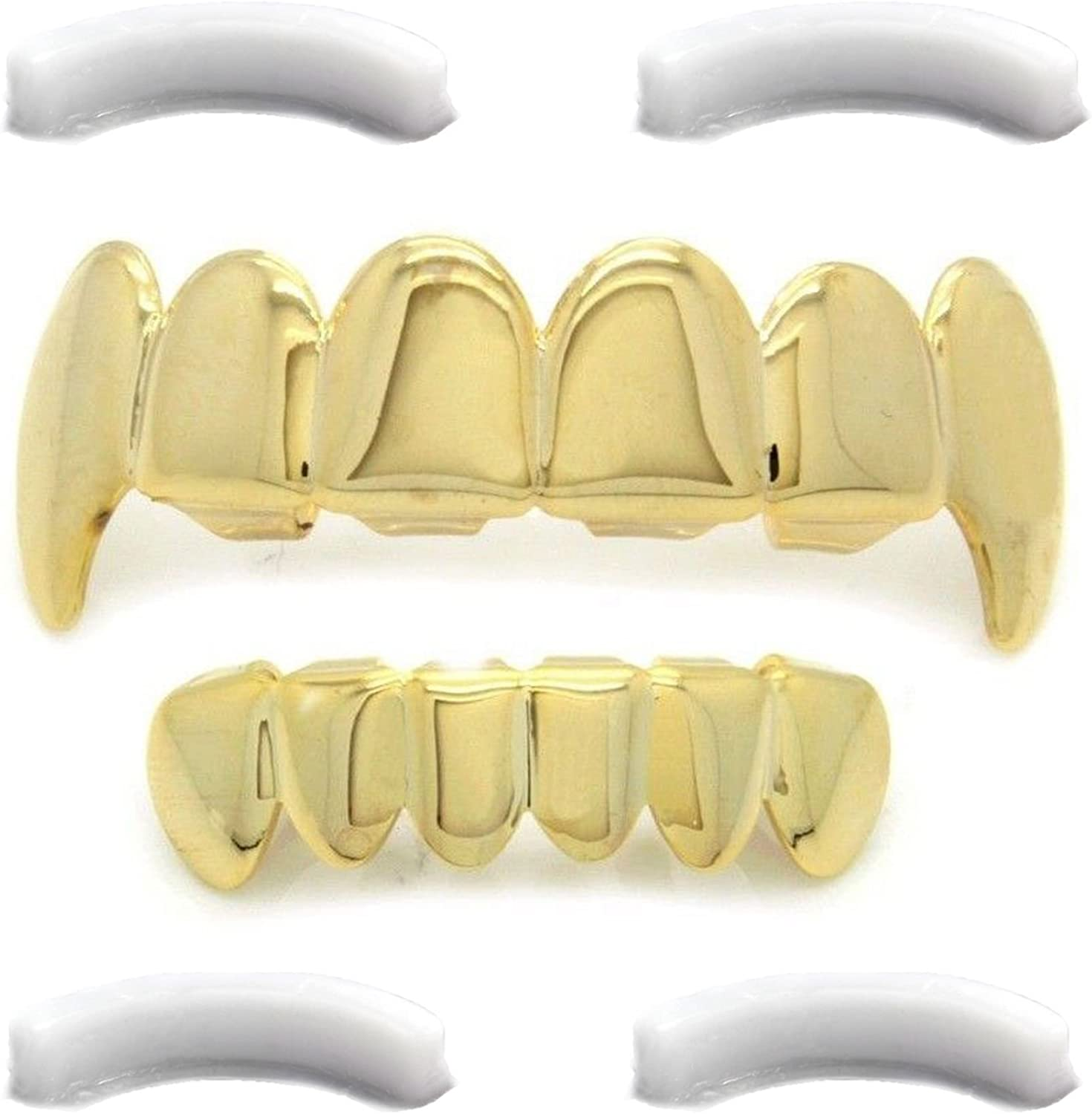 All stores are sold L Nation Gold Choice Tone Hip Hop Grillz Fangs Bottom Top wit Set