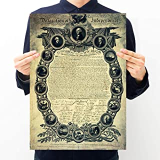 Poster Vintage Poster Famous Painting World Retro Antique Mural Art Wallpaper for Kids Children Baby Family Member Bedroom Living Room Decor Home (USA Declaration of Independence)