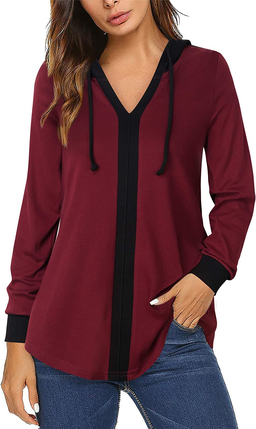 Lotusmile Women's Color Block Hooded Tunic Tops Casual Lightweight Hoody Shirts