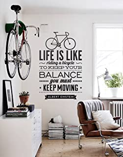Ideaowl Life Is Like~Riding A Bicycle~To Keep Your Balance…You Must… Keep Moving…. Vinyl Wall Decals Quotes Sayings Words Art Decor Lettering Vinyl Wall Art for Family (black)