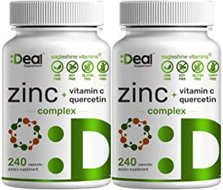 2 Pack of Eagleshine Vitamins Zinc 50mg with Vitamin C & Quercetin, 4-1 Zinc Complex, 480 Capsules, Elemental Zinc for Imm...