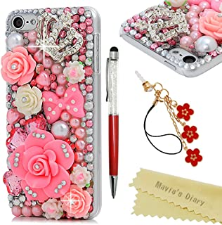 iPod Touch 6th Generation Case - Mavis's Diary 3D Handmade Luxury Bling Pink Flowers with Cute Bow Shiny Crown Diamonds Clear Case Hard Cover For iPod Touch 6th Generation with Dust Plug & Crystal Pen