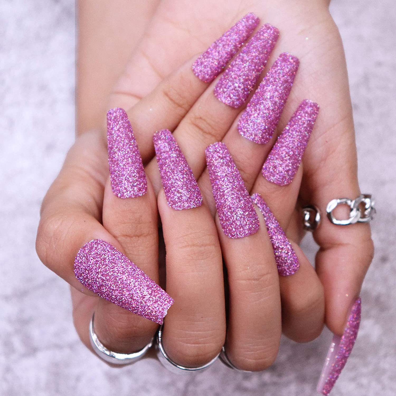 MISUD Glitter False Nails Full Cover Press Extra Long Fees free!! Max 50% OFF Length on