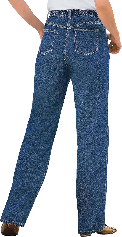 Woman Within Women's Plus Size Petite Back-Elastic Straight Leg Cotton Jean