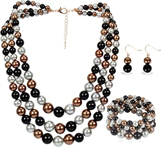 LuckyHouse Faux Pearl Strands Jewelry Sets for Women...