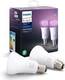 Philips Hue Standaard Lamp 2-Pack - E27 - Duurzame LED Verlichting - Wit en Gekleurd Licht - Dimbaar - Verbind met Bluetoo...