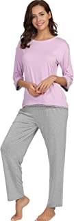Women's Crew Neck Sleepwear 3/4 Sleeve Pajama Pants Set