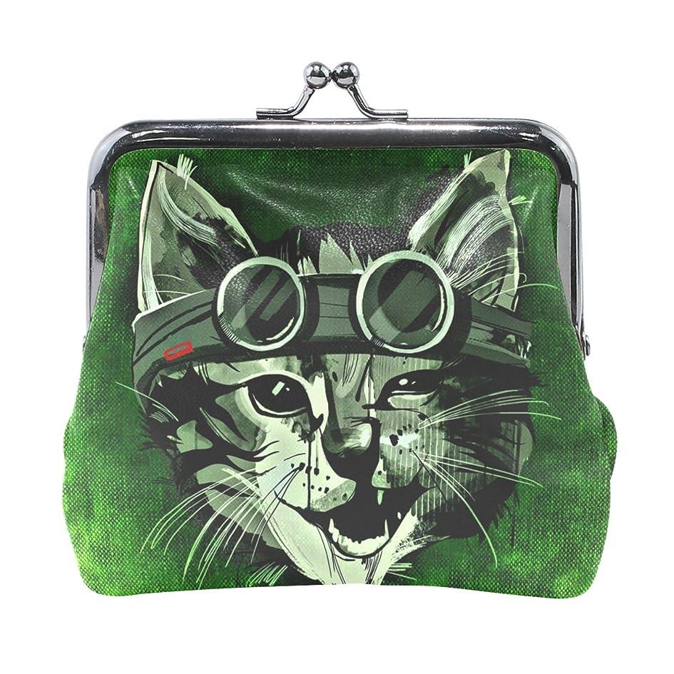 暴露丁寧者AOMOKI 財布 小銭入れ ガマ口 コインケース レザー 猫柄 メガネ クール 絵 緑