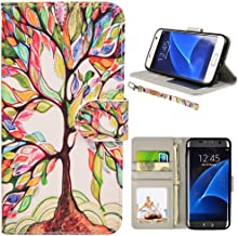 UrSpeedtekLive S7 Case, Galaxy S7 Wallet Case, Premium PU Leather Wristlet Flip Case Cover with Card Slots & Stand for Samsung Galaxy S7, Love Tree Pattern