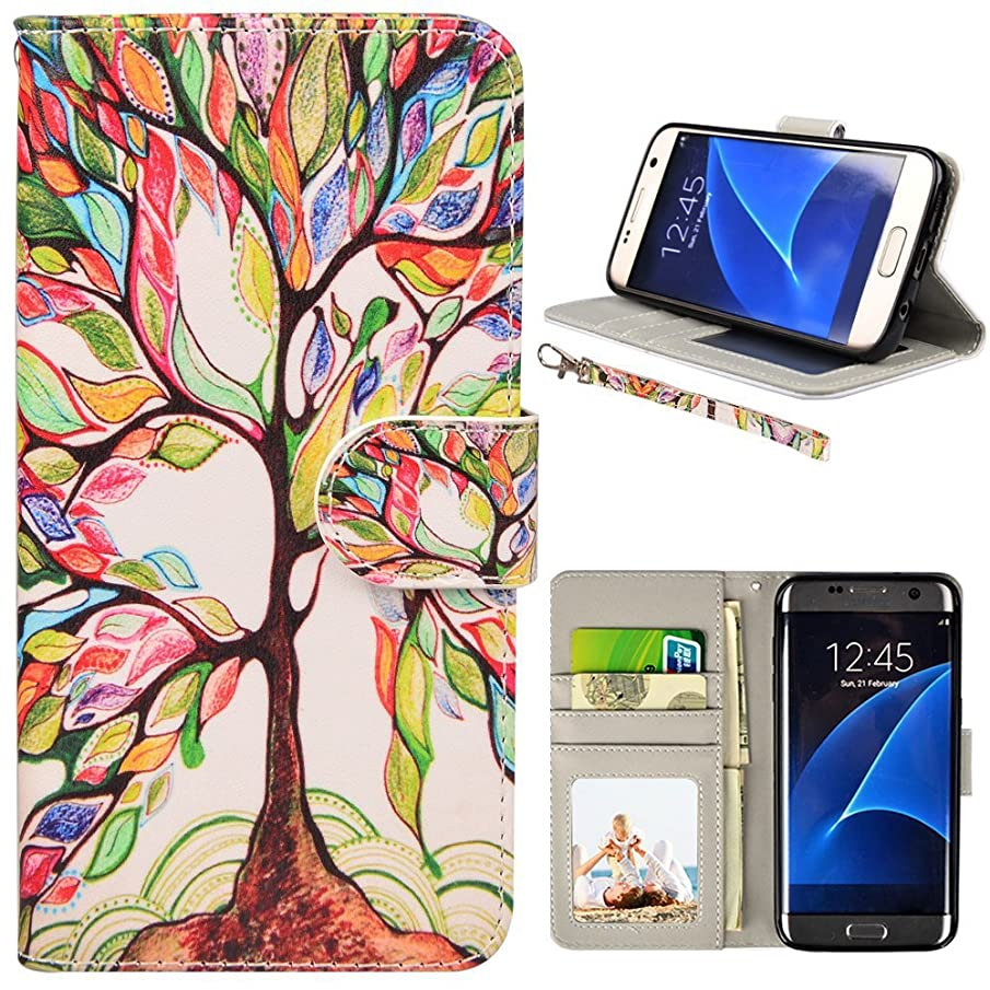 UrSpeedtekLive S7 Edge Case, Galaxy S7 Edge Case, Premium PU Leather Wristlet Flip Wallet Case with Card Slots & Stand Cover for Samsung Galaxy S7 Edge, Love Tree (NOT for Galaxy S7)