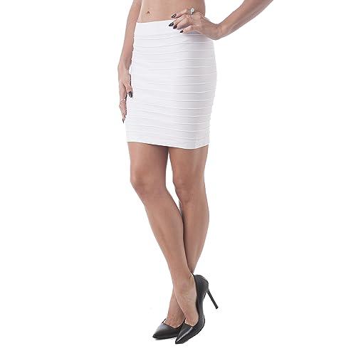 9dfb9ac0e3ad Hollywood Star Fashion Women's Bandage Style Mini Skirt Knit Stretch Fabric
