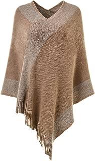 Ferand Stylish Knit Striped V neck Poncho Shawl Sweater with Tassels for Women