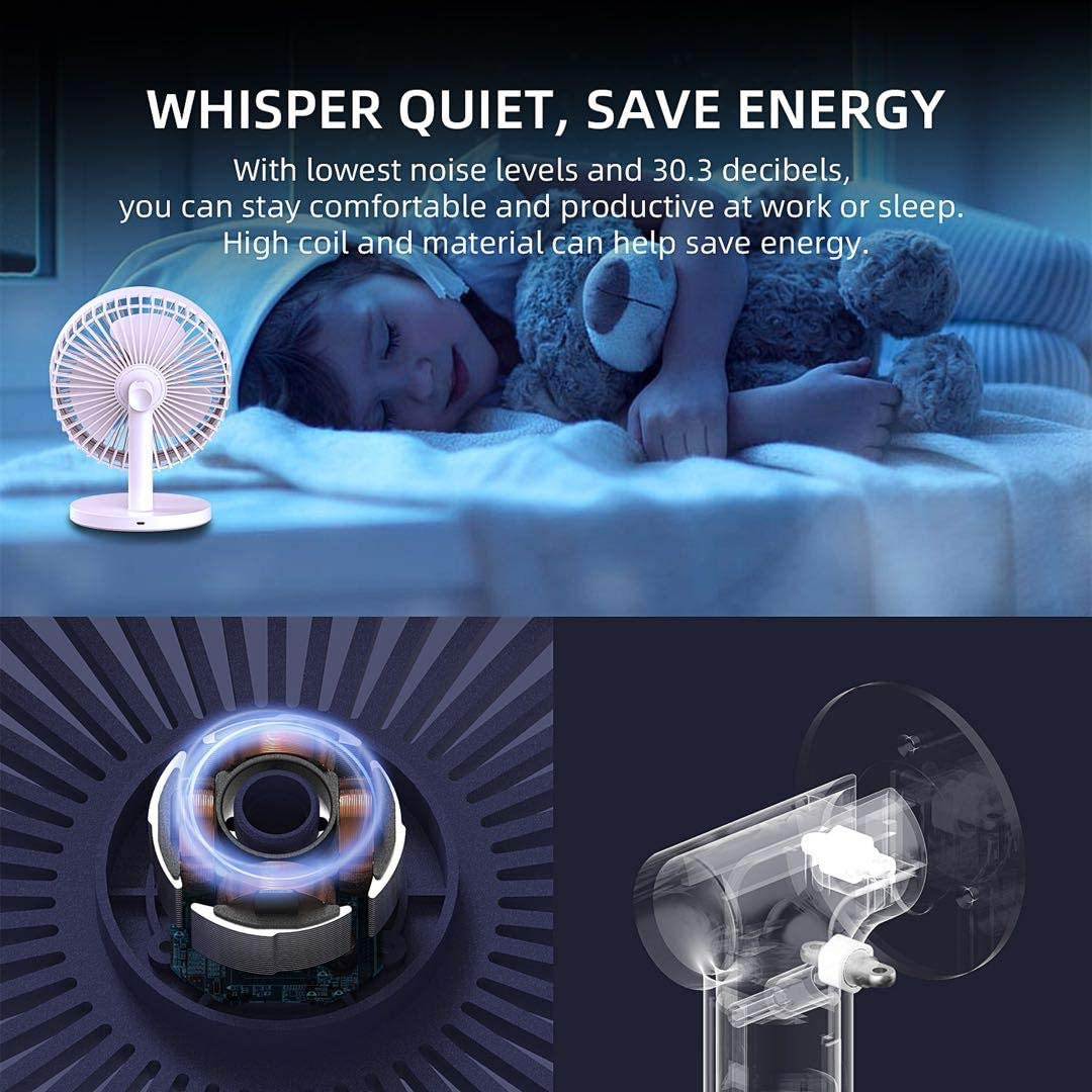 Desk Fan Small Quite, USB Rechargeable 2000mAh Battery in 3 Speeds Strong Wind, 90 Degree Rotation, Table Fans for Bedroom Whisper Quiet, Personal Cooling Fan for Home & Office(Blue)
