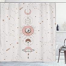 YoKII Zodiac Constellation Fabric Shower Curtain, Blush Sun and Moon Phrase Bathroom Shower Curtain Sets, Modern Abstract ...