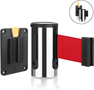 Wall Mounted Retractable Belt Barrier, Stainless Steel Rope Safety barriers with 6.5ft red Belt, Barking System Supported