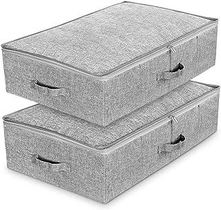 Lot de 2 Sac de Rangement sous lit en tissu cationique respirant,Boîtes pliables de Rangement avec couvercle et poignée po...