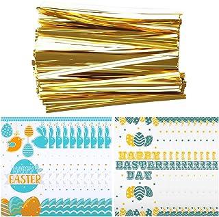 Cabilock 200個イースターキャンディー袋ビスケットバッグfifts包装袋と200個バインディングネクタイイースターパーティー好意バッグイースターパーティー供給 (混合色)