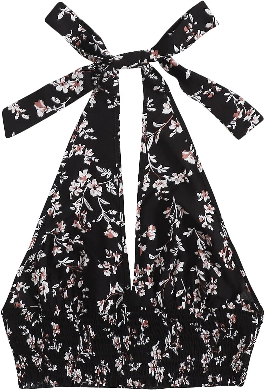SheIn Women's Floral Print Halter Neck Crop Top Backless Shirred Hem Cami Tank Top